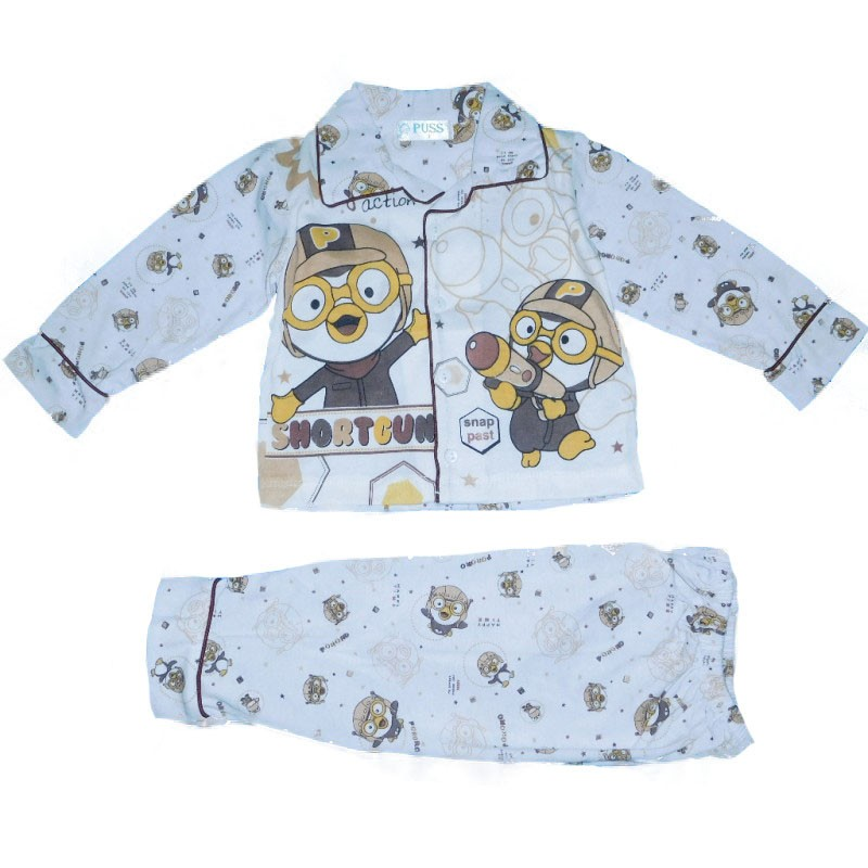 PYL207 - Stelan Piyama Bayi motif pororo (AVAILABLE 3 SIZE & COLOR)