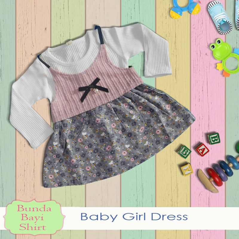 Baju Anak Bayi Perempuan model Dress Rompi Korea Autumn Flowers  - BPD361
